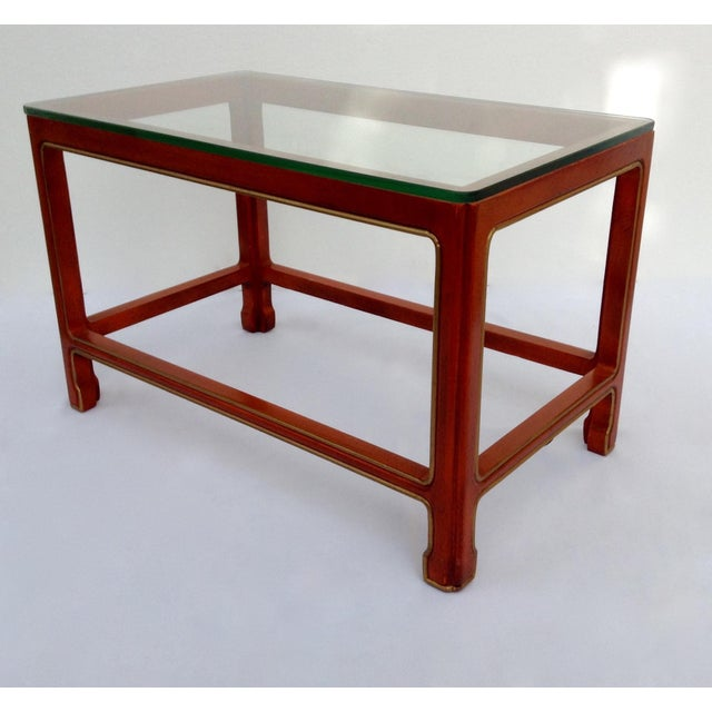 1950s Vintage Kindel Asian Chinese Orange Lacquer Tea Table For Sale - Image 5 of 11