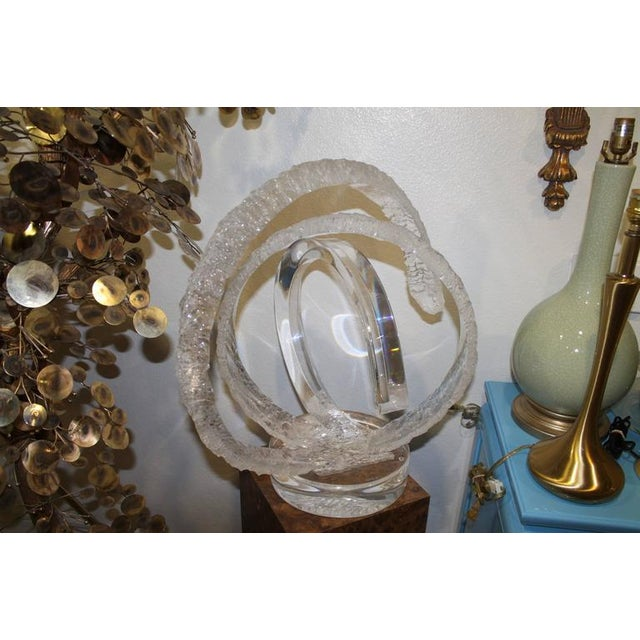 Signed Van Teal Lucite monumental sculpture large circular frosted and clear design. Perfect for the Hollywood Regency or...