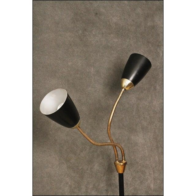 Mid Century Modern Black Double Gooseneck Floor Lamp For Sale - Image 5 of 11