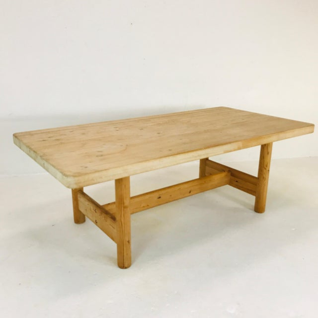 Thick and Heavy solid Scandinavian pine butcher block dining table. Imported to the United States by the original owner in...