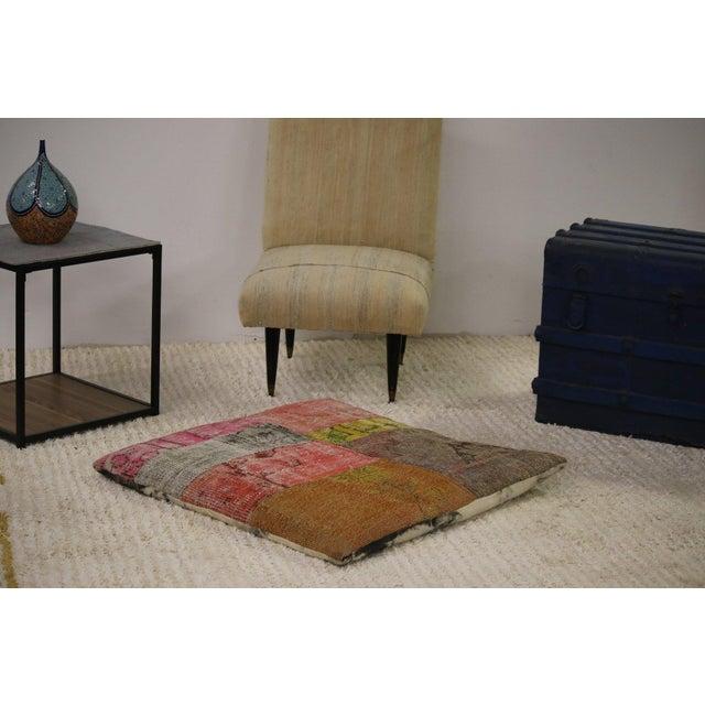 Designer Patchwork Floor Pillow For Sale - Image 4 of 4
