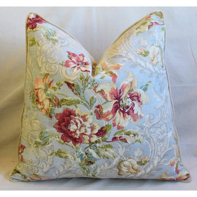 "Early 21st Century French Floral Linen & Velvet Feather/Down Pillows 24"" Square - Pair For Sale - Image 5 of 13"