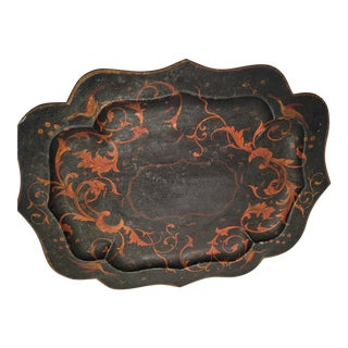 19th Century Antique Hand-Painted Tole Tray For Sale