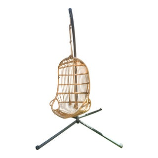 Modern Serena & Lily Hanging Rattan Chair & Base For Sale