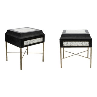 Eggshell and Granite-Clad Side Tables - a Pair For Sale