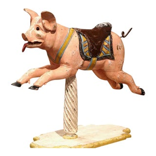 19th Century French Carved Painted Wooden Carousel Pig