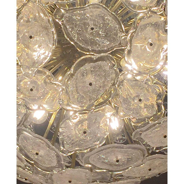 Murano Contemporary Italian Brass & White Frosted Murano Glass Leaf Sputnik Chandelier For Sale - Image 4 of 9