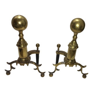 Vintage Classic Heavy Brass Andirons - a Pair For Sale