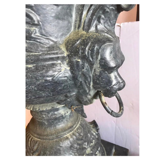 Monumental Antique Covered Cast Iron Urns on Plinths and Lion Head Handles, Pair For Sale In New York - Image 6 of 11