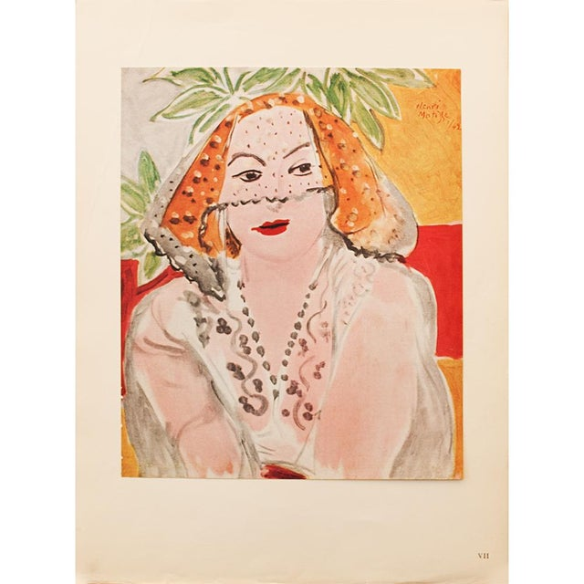 "Orange 1946 Henri Matisse, ""Woman With Violet"" Original Period Parisian Lithograph For Sale - Image 8 of 8"