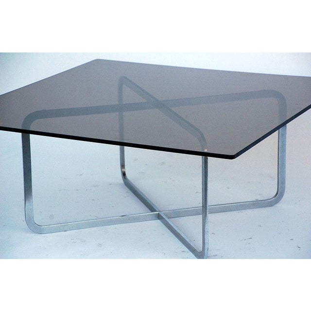 Michel Boyer Brushed Steel and Smoked Glass Coffee Table in the Style of Michel Boyer For Sale - Image 4 of 5