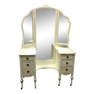 1930's Depression Era Tri-Fold Mirrored Vanity Dresser - Painted Walnut Wood Vintage White For Sale