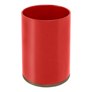 Veere Grenney Collection Round Bin in Chinese Red For Sale