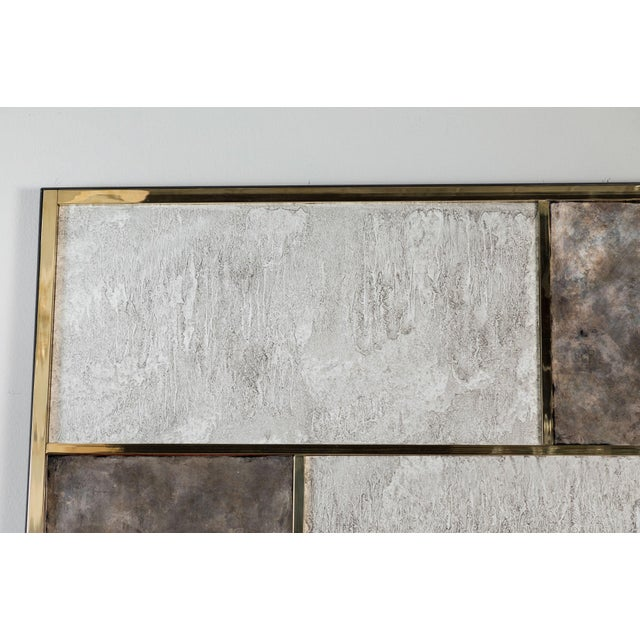 Art Wall Panel With Brass, Distressed Silver Leaf and Textured Finish by Paul Marra - Image 4 of 8