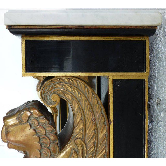 Carved Wood and Marble Empire Revival Console Table, Manner of Maison Jansen For Sale In Miami - Image 6 of 10