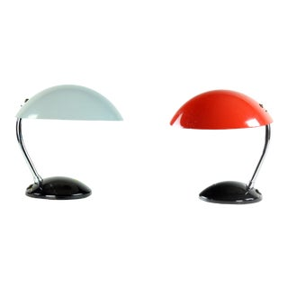 1964 Drukov Red & Gray His & Hers Table Lamps, Czechoslovakia - Set of 2 For Sale