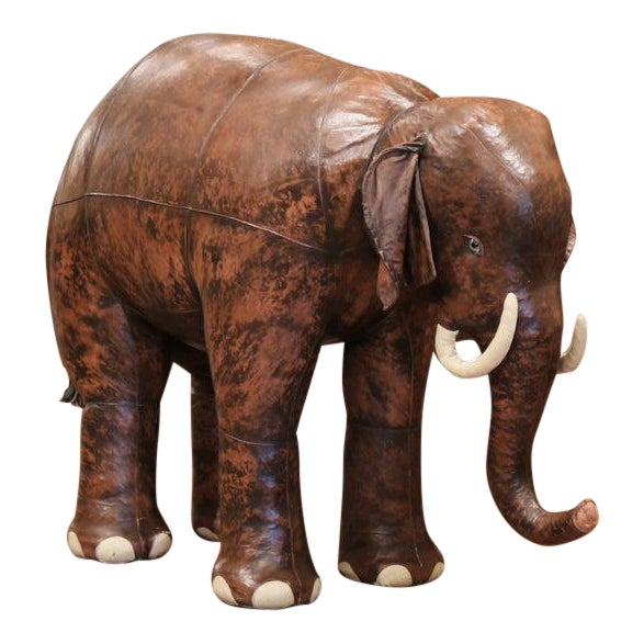 Vintage Life Size Patinated Brown Leather Calf Baby Elephant For Sale