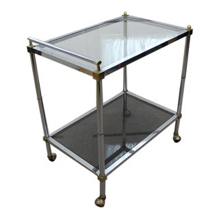 Mid Century Modern chrome and glass tea / bar cart For Sale