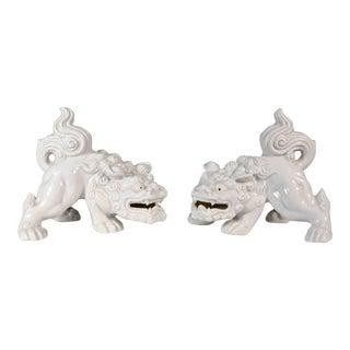 Vintage Blanc De Chine Foo Dogs - a Pair For Sale