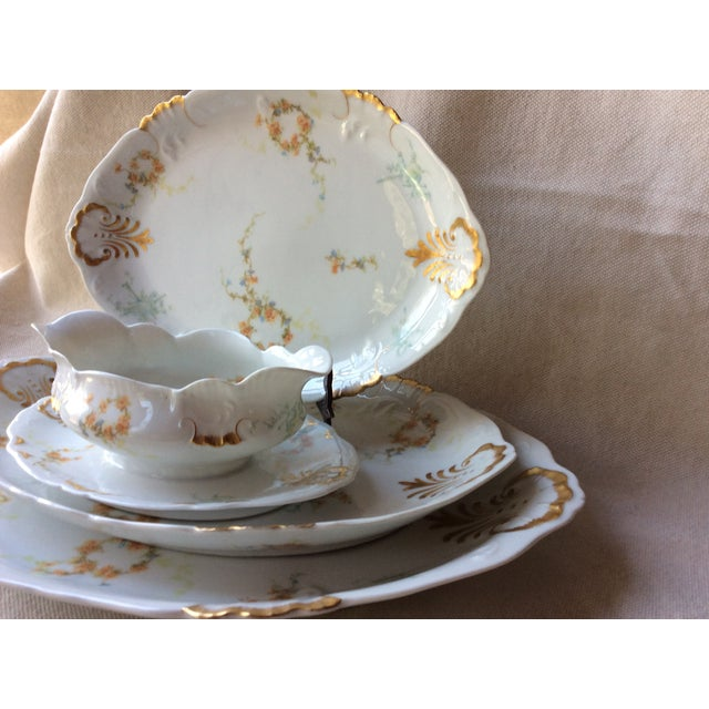 Ceramic French Heirloom Porcelain Gravy Boat and Platters Serving Pieces - 4 Pc. Set For Sale - Image 7 of 13