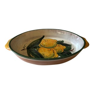 Vintage Italian Earthenware Hand Painted Lemons Serving Dish For Sale