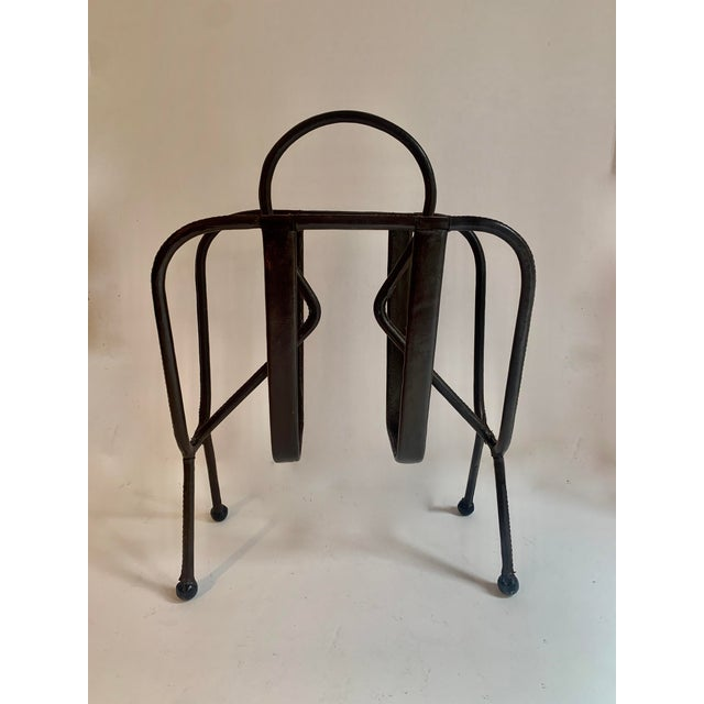 Jacques Adnet Jacques Adnet Leather Magazine Rack For Sale - Image 4 of 11