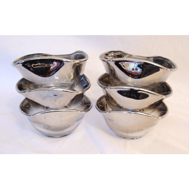 Dorothy Thorpe Vintage Mid-Century Dorothy Thorpe Silver Rim Fade Glass Salad Bowl Set of 7 For Sale - Image 4 of 8