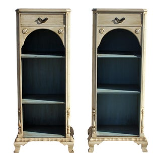 Painted White Solid Mahogany Colonial Bookcases - A Pair