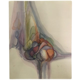 1960s Vintage Abstract Watercolor Painting For Sale