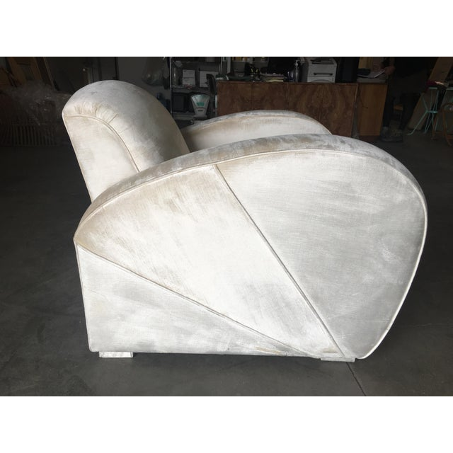 Wood Art Deco Pearl White Mohair Jazz Club Chair W/ Speed Arms For Sale - Image 7 of 11