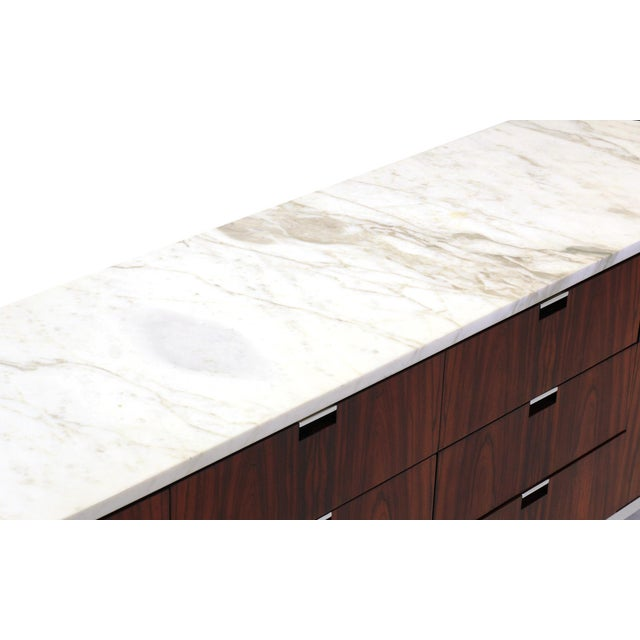 Exceptional Florence Knoll Marble-Top Rosewood Credenza - Image 4 of 9