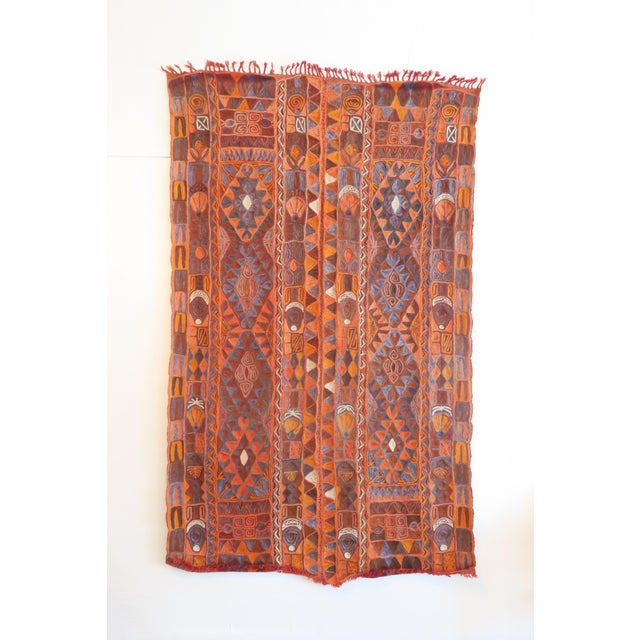Beautiful vintage hand woven rug made by the Samawa people in Iraq. Estimated to be 60 years old. In very good condition,...