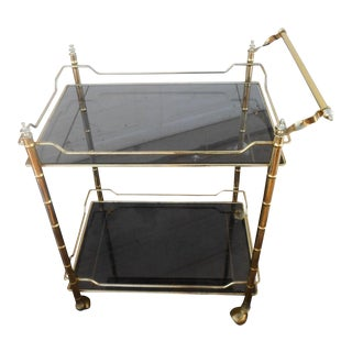 Vintage Mid-Century Modern Faux Bamboo Brass Rolling Bar Cart