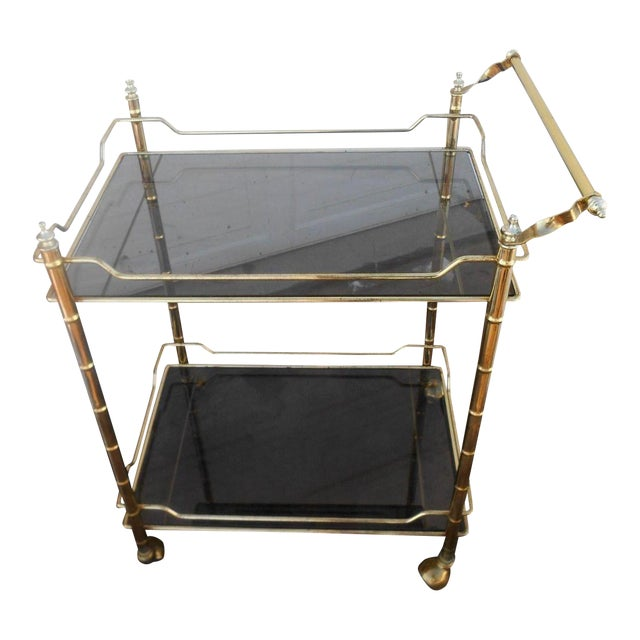 Vintage Mid-Century Modern Faux Bamboo Brass Rolling Bar Cart For Sale