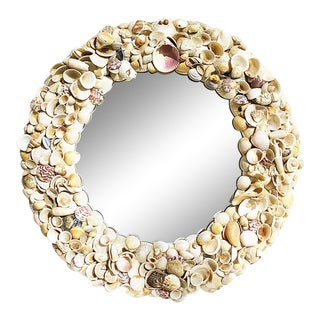 Round Natural Shell Mirror For Sale