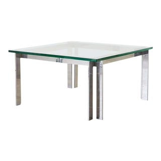 Milo Baughman Style Chrome and Glass Square Cocktail Table For Sale