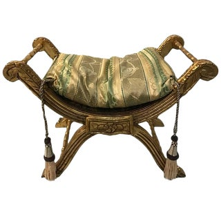 Giltwood Bench with Pillow and Nailheads For Sale