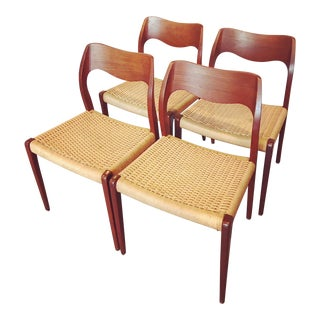 1950s Mid-Century Modern Niels Moller Model 71 Teak Dining Chairs - Set of 4