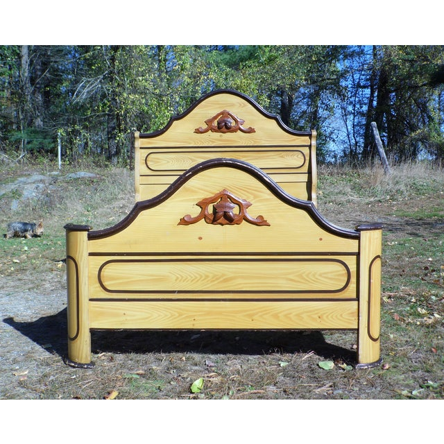 Antique Victorian Neo-Grec Solid Pine Full Double Bed circa 1865-75. Wonderful big arched crest on headboard and footboard...