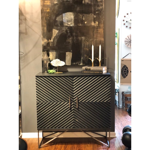 Black Geometric Wood Two Door Cabinet - Image 10 of 12
