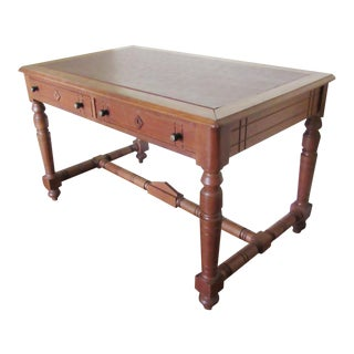Arts and Crafts Mission Oak Red Leather Writing Desk For Sale