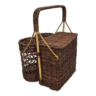Double Wine Picnic Basket For Sale