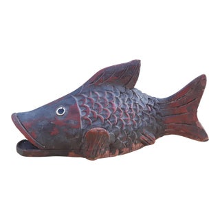 Asian Antique Wooden Carp Carving For Sale