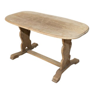 Vintage Stripped French Oak Ovular Coffee Table With Carved Details For Sale