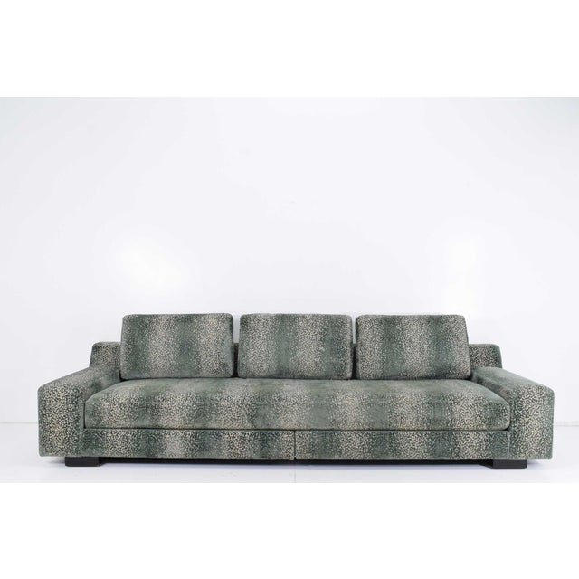 Sofa is 10' long, beautiful hi-quality cut velvet. Includes five extra throw pillows. Please see images.