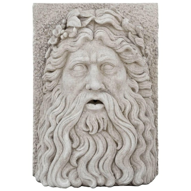 Mediterranean 20th Century Large Tuscan Garden Mask of Zeus For Sale - Image 3 of 3