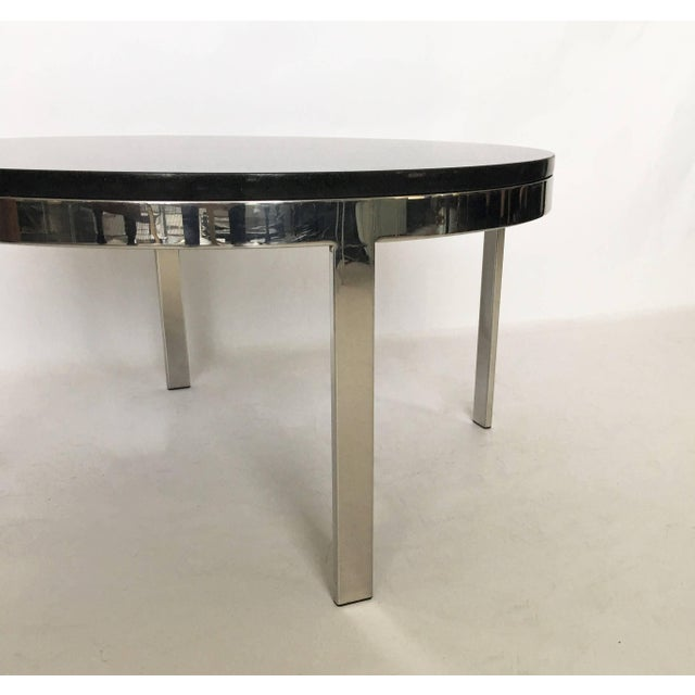 Mid-Century Modern Milo Baughman Style Chrome and Granite Top Coffee Table For Sale - Image 3 of 7