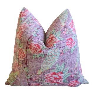 "Bohemian Chic Lavender, Green & Rose Floral Batik Feather/Down Pillow 24"" Square For Sale"