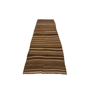 "Vintage Striped Natural Brown Wool Kilim Runner-3'2'x10'4"" Preview"