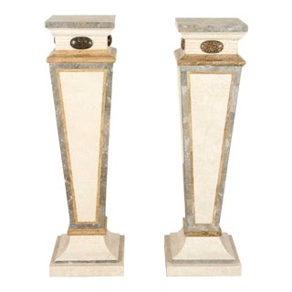 Art Nouveau Marble Pedestals - A Pair For Sale